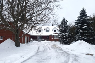 Snowy driveway leading to The Empty Nest