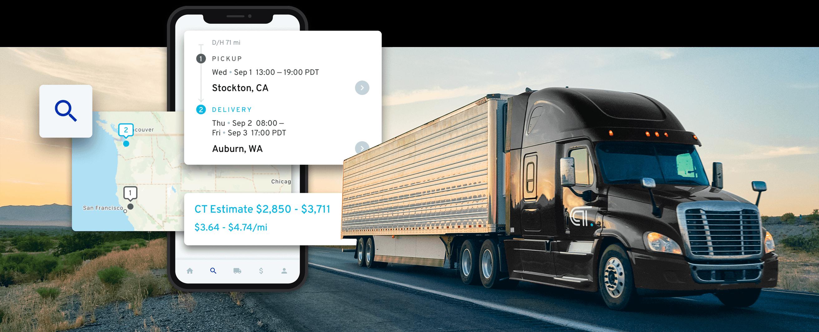 CloudTrucks UI and semi-truck