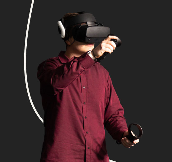 User in Reveal VR with headset image