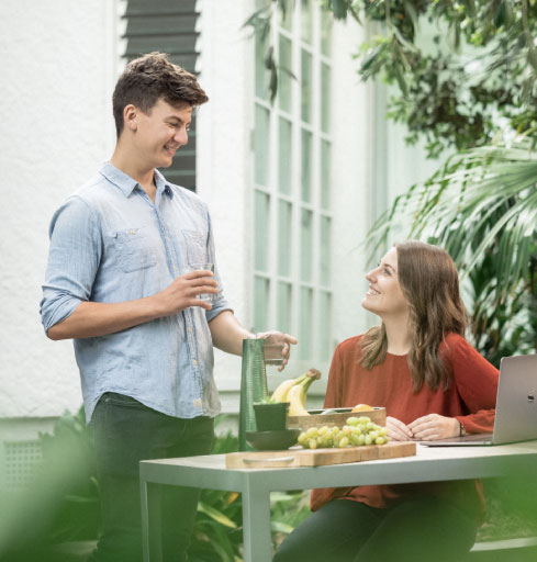 Couple engaging in conversation