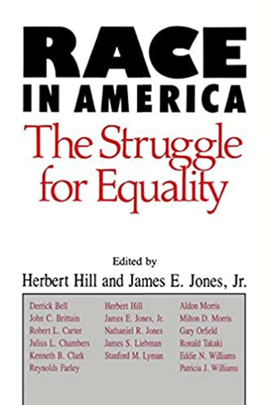 Race in America The Struggle for Equality book cover, author Herbit Hill