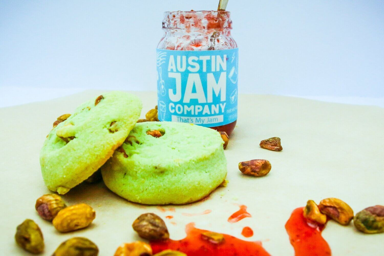 Pistachio Cookies with Jam