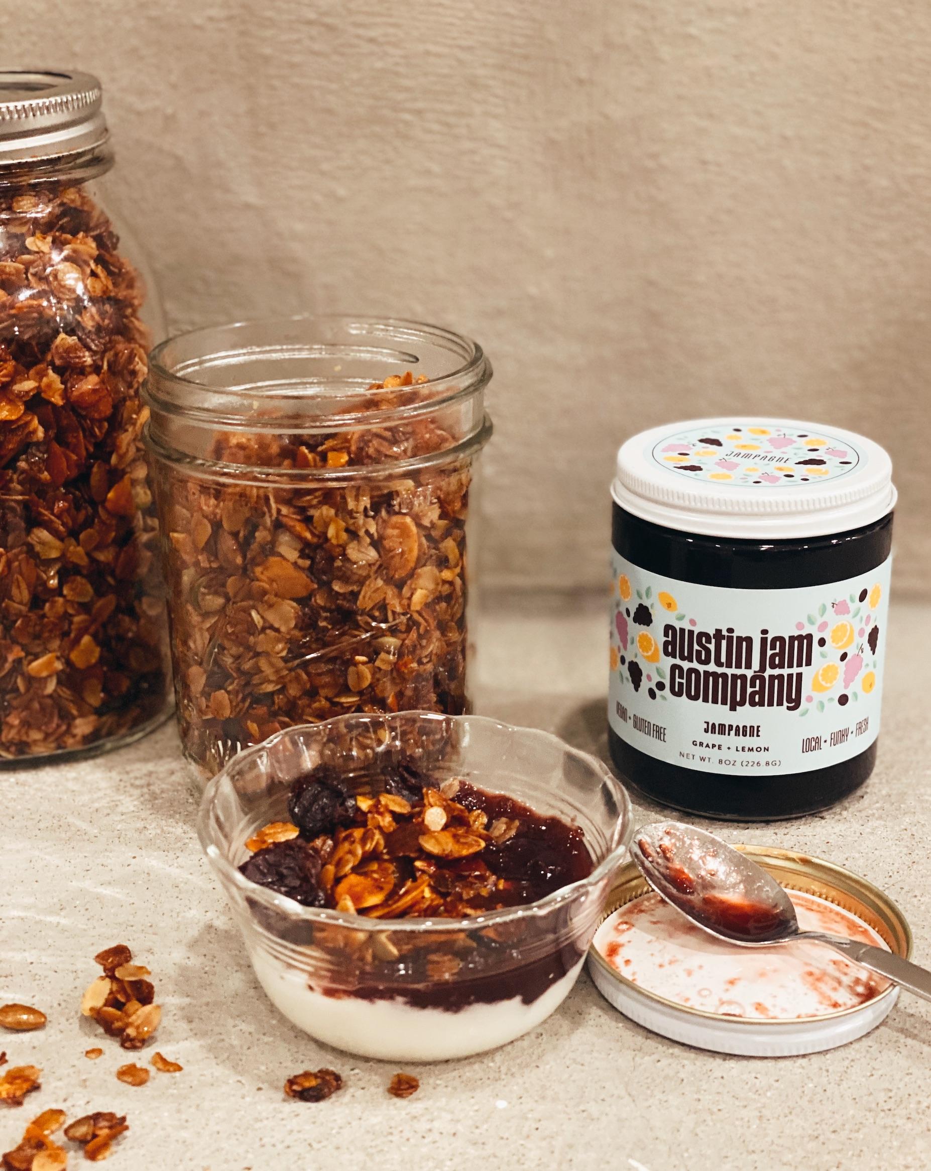 Salted Maple Granola and Jam Parfait