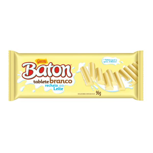Chocolate GAROTO BATON Recheado Branco Tablete 96g