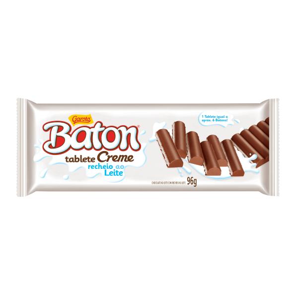 Chocolate GAROTO BATON Recheado Creme Tablete 96g