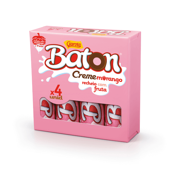 Chocolate GAROTO BATON Recheado Morango Pack 64g