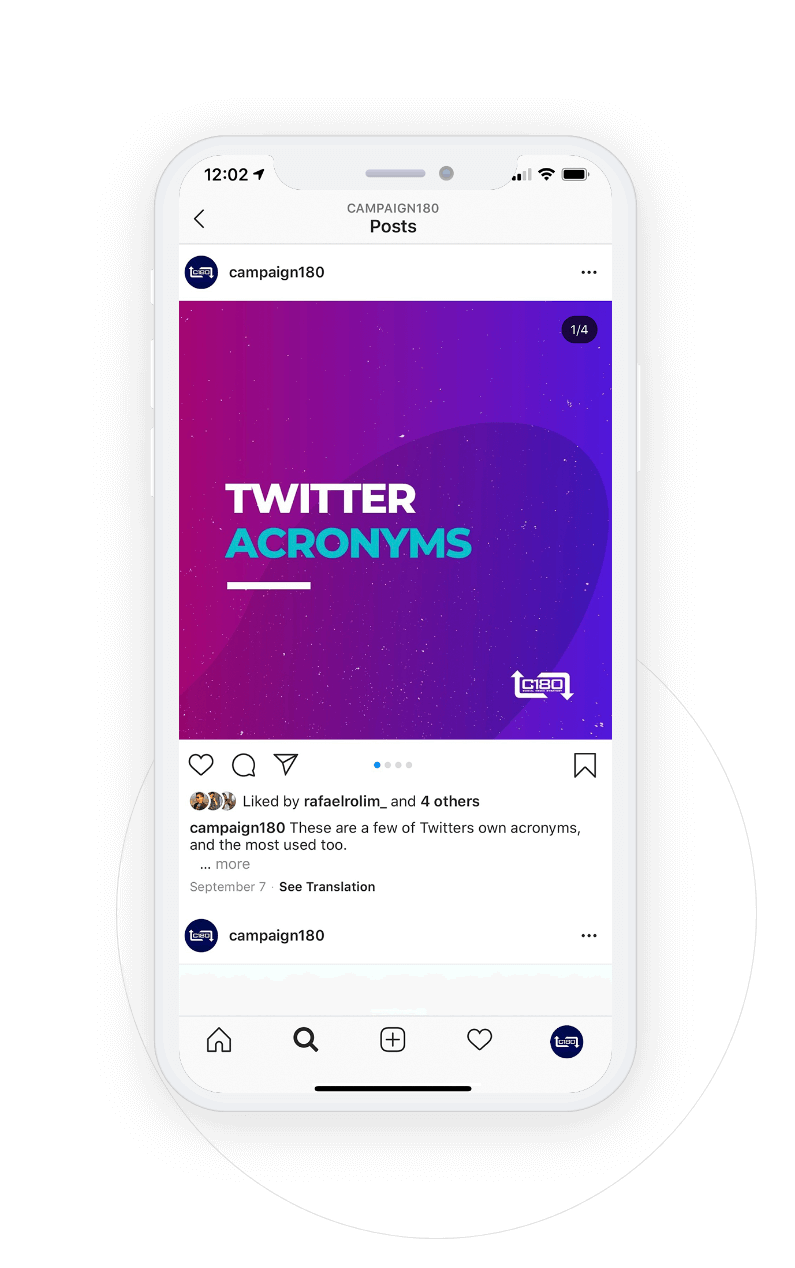Smartphone with instagram post about twitter acronyms