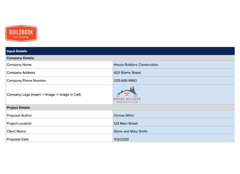 Customization fields for your construction estimate template