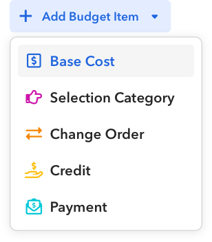 Budget categories in BuildBook