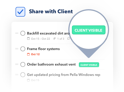 Control what the client can see with BuildBook