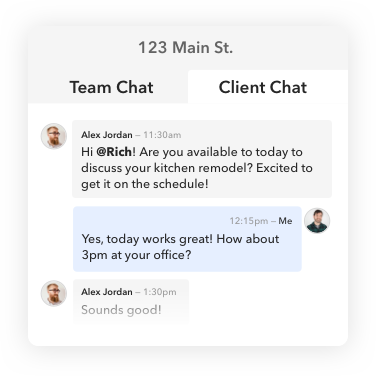 Private client messaging rooms in each project with BuildBook