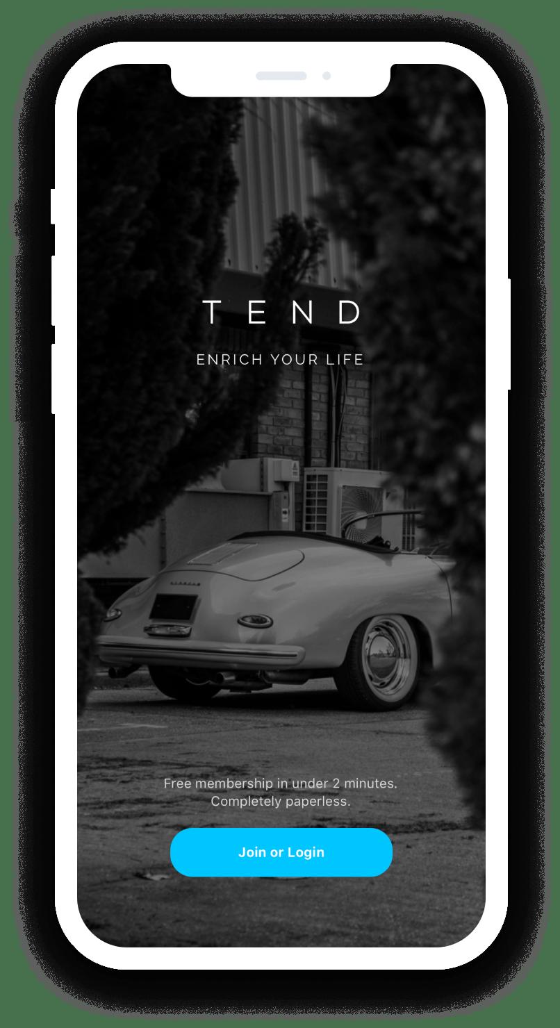 Tend Login Screen