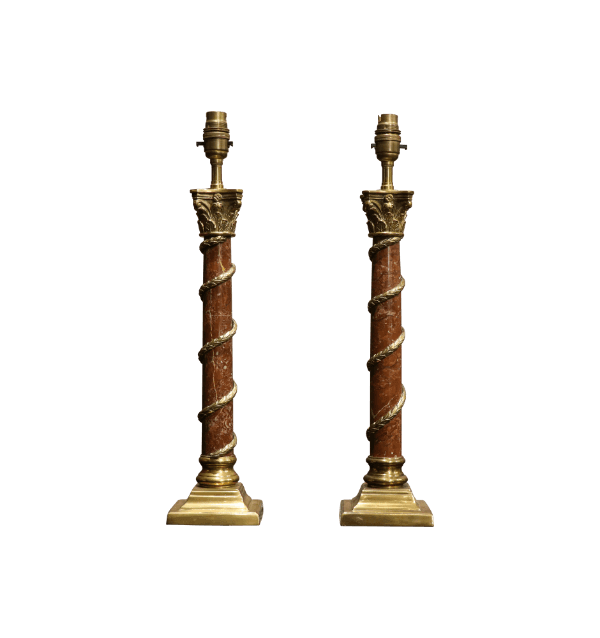 A pair of Corinthian Column Table Lamps