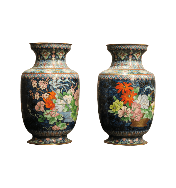 A pair of 19 century Chinese cloisonne vases
