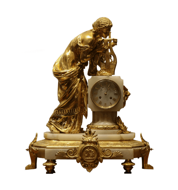 French Gilt Bronze and Onyx Marble Mantel Clock