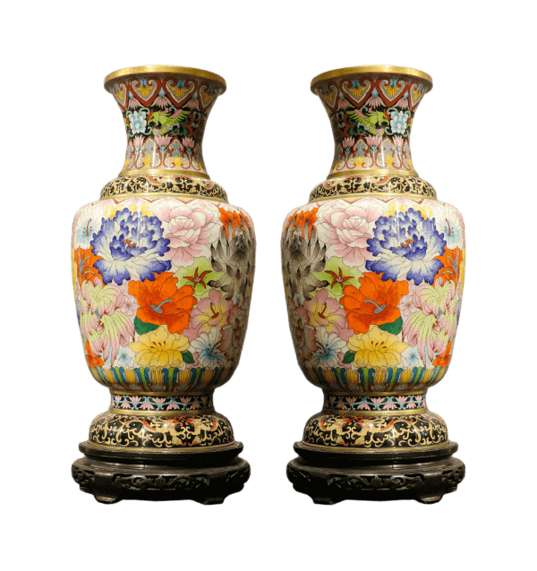 A pair of 19 century cloisonne Chinese vases