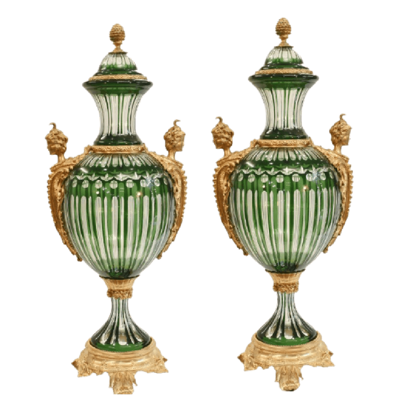 Empire Style ormolu mounted Green Crystal Urns