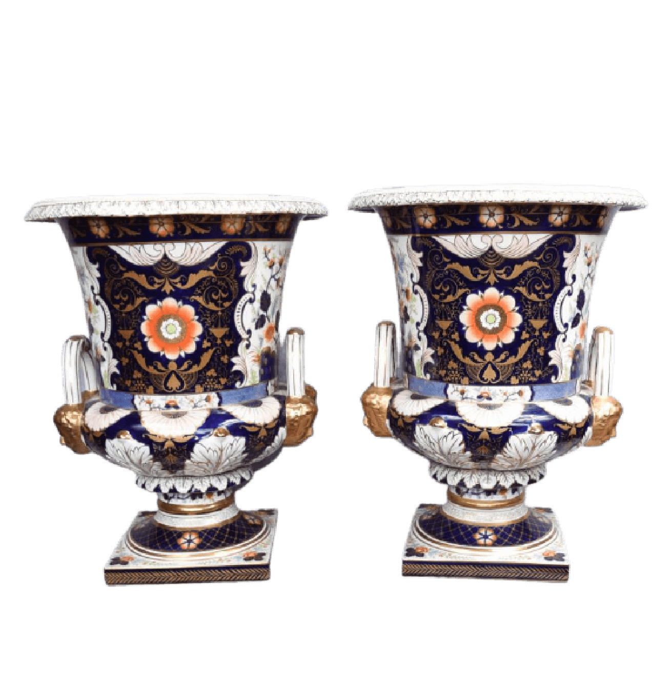 A Pair of Royal Derby Style Porcelain Urns