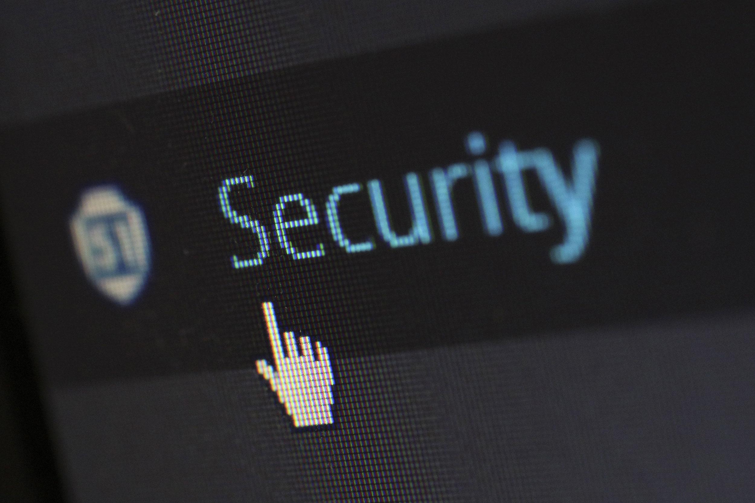 Datasikkerthet illustrasjonsbilde av  dataskjerm med tekst Security.