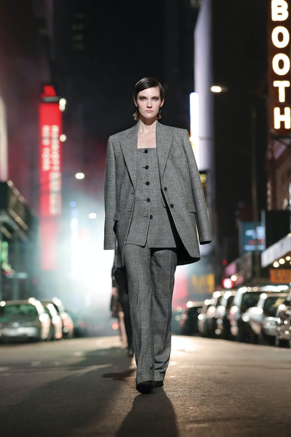 GLEN PLAID SUIT WITH STRAPLESS JACKET