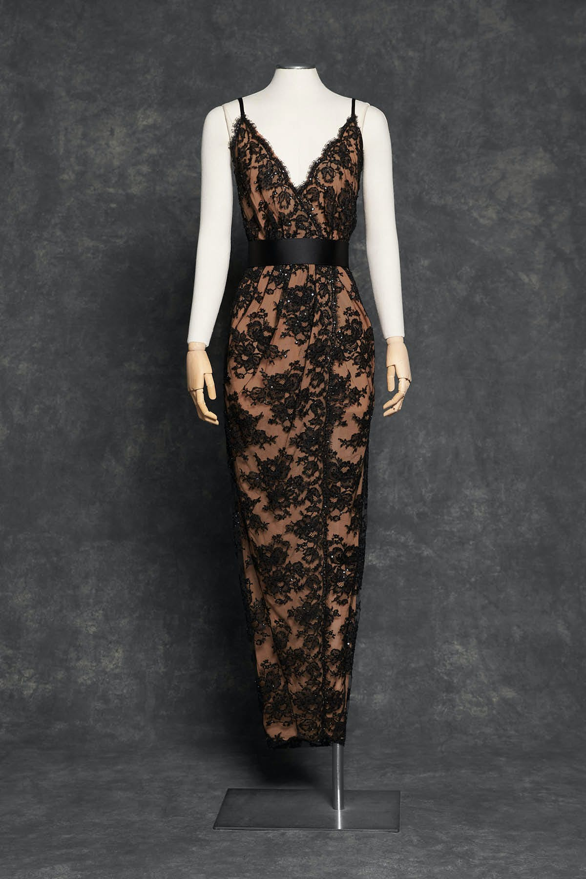 CHANTILLY LACE GOWN WITH PAILLETTE EMBROIDERY