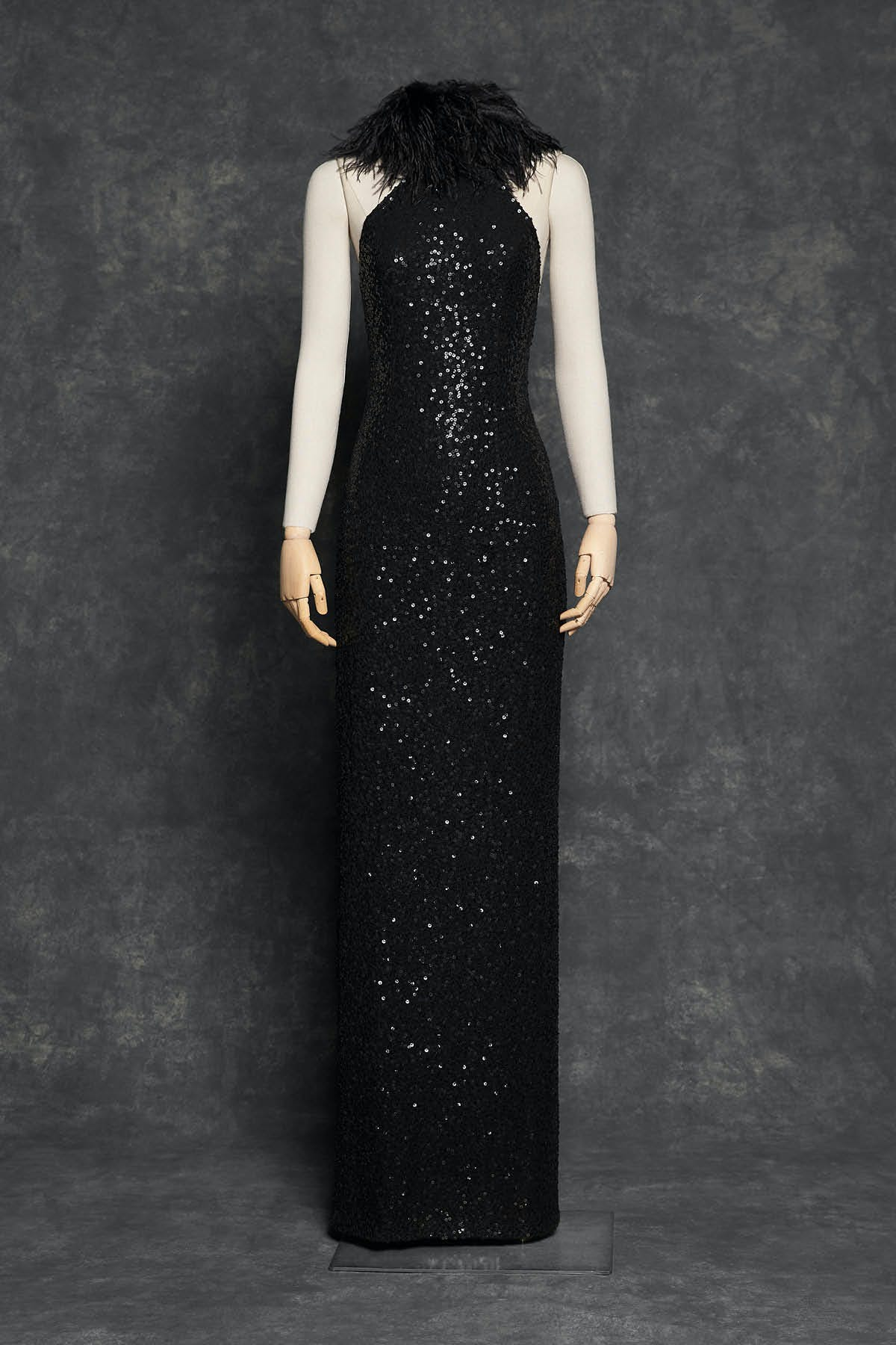BLACK GOWN WITH PAILLETTE HAND EMBROIDERY AND MARABOU FEATHERS