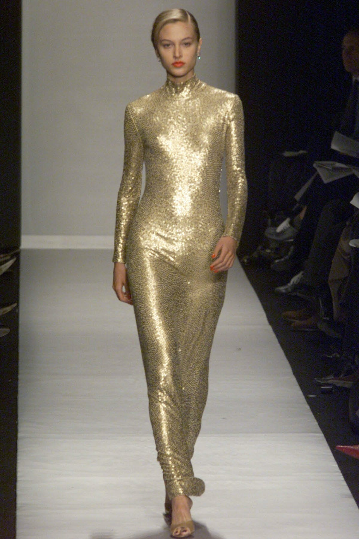 GOLD GOWN WITH PAILLETTE HAND EMBROIDERY