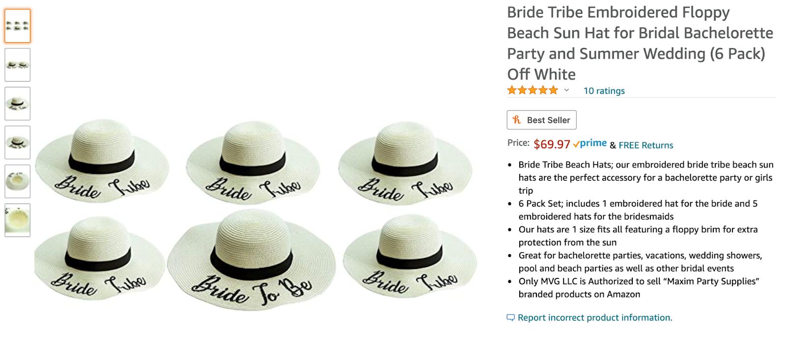 Bridal party floppy sun hat