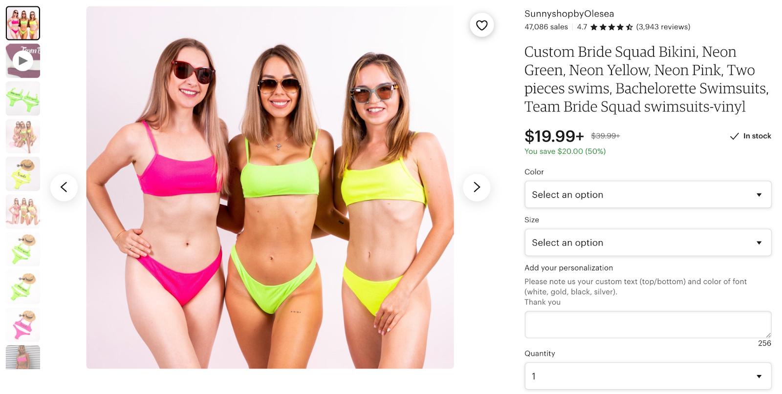custom bachelorette party swimsuits