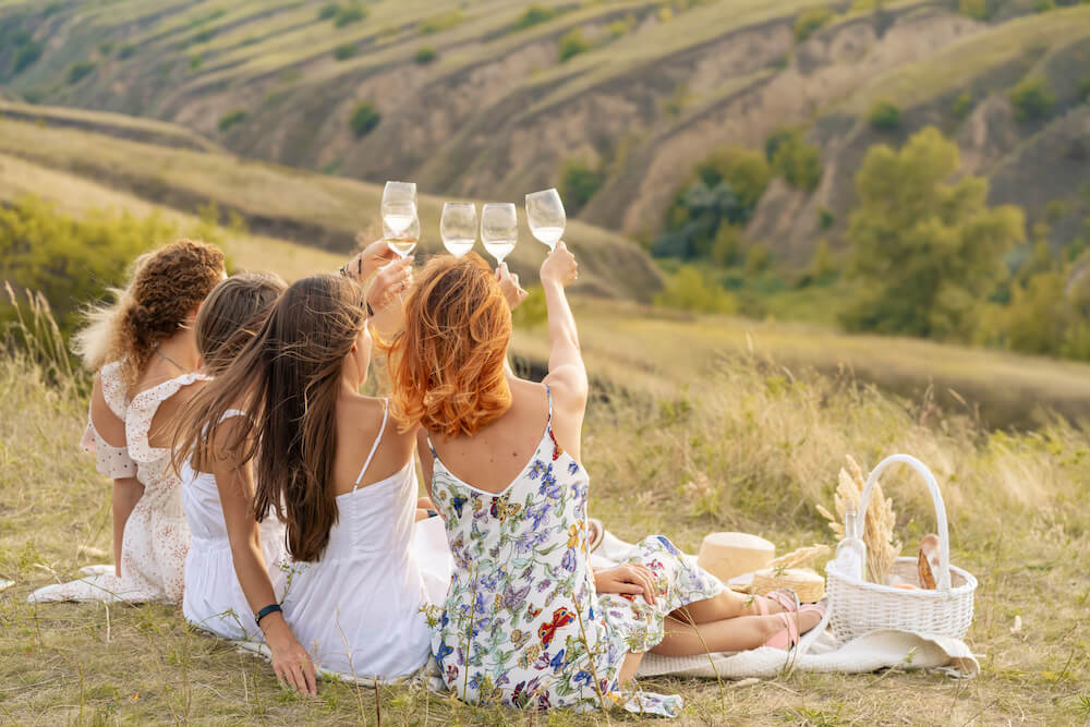Group of women raising a toast during a picnic