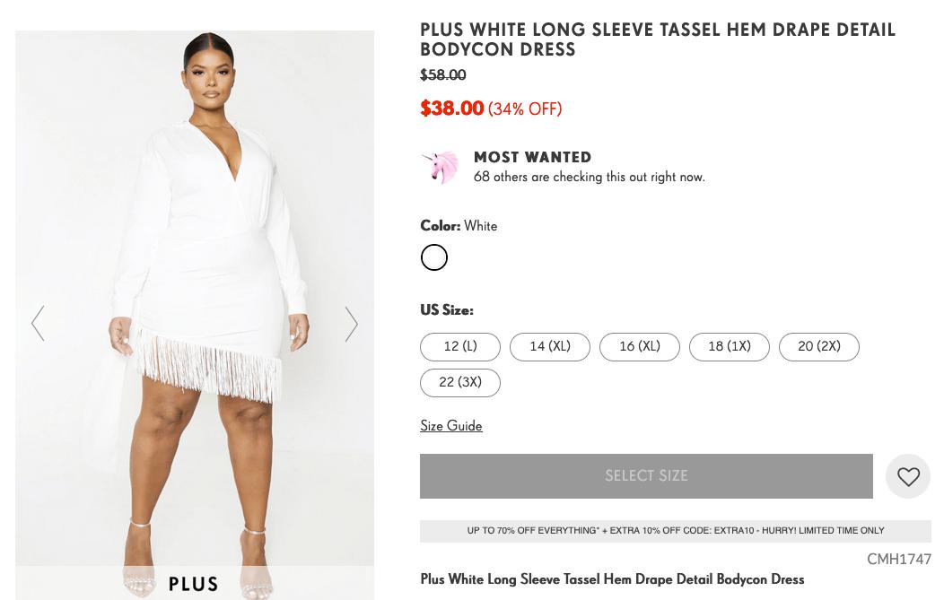 What to wear to a bachelorette party: Plus white long sleeve tassel hem bodycon dress
