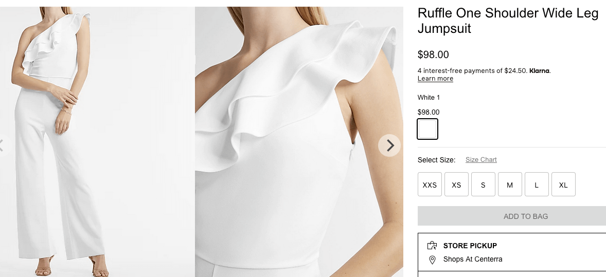What to wear to a bachelorette party: Ruffle one shoulder wide leg jumpsuit