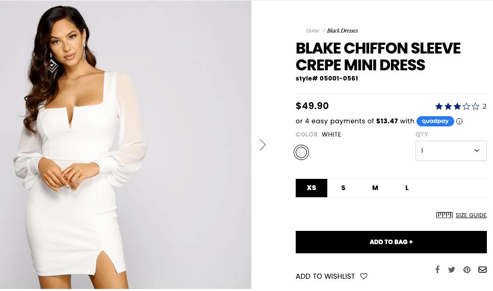 What to wear to a bachelorette party: Blake chiffon sleeve crepe mini dress