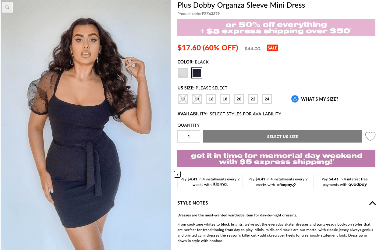 What to wear to a bachelorette party: Plus Dobby Organza sleeve mini dress
