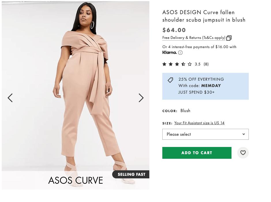 What to wear to a bachelorette party: ASOS design curve fallen shoulder scuba jumpsuit