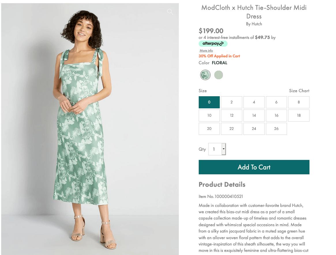 What to wear to a bachelorette party: ModCloth x Hutch tie-shoulder midi dress