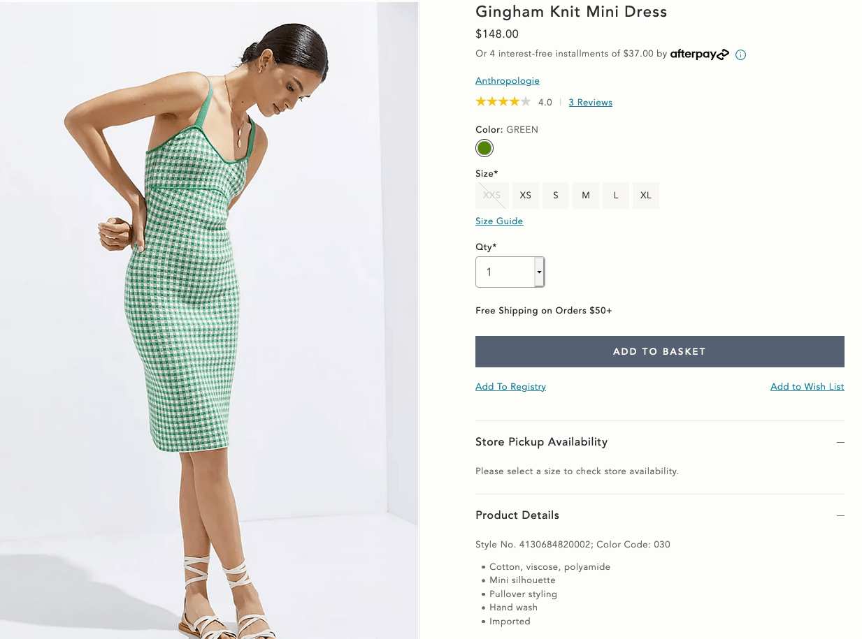 Gingham knit mini dress