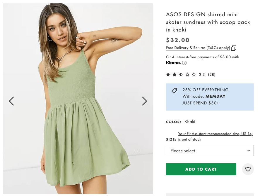 ASOS design shirred mini skater sundress with scoop back