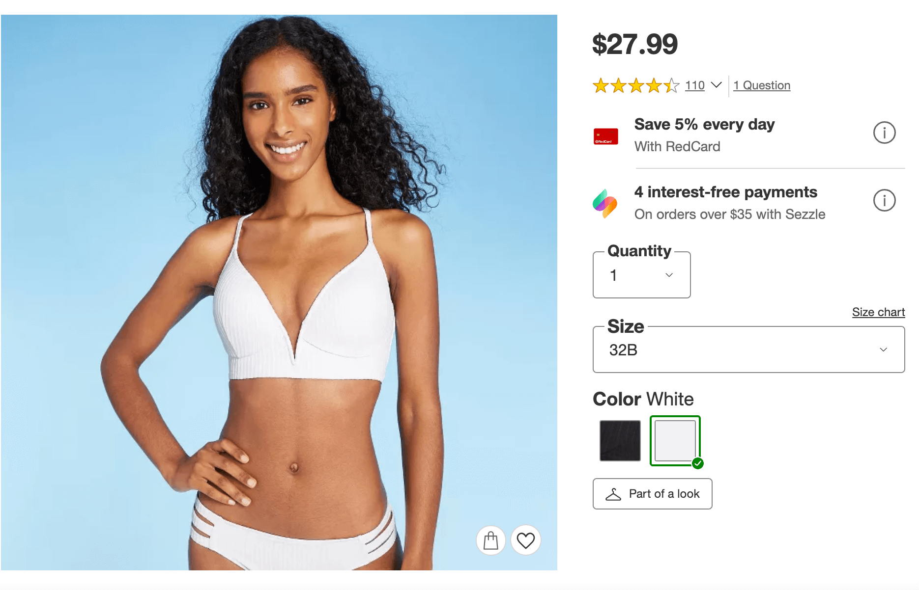 bride swimsuit: Lightly lined v-wire ribbed bikini