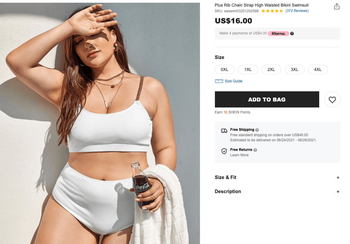 bride swimsuit: Plus rib chain strap high-waisted bikini swimsuit