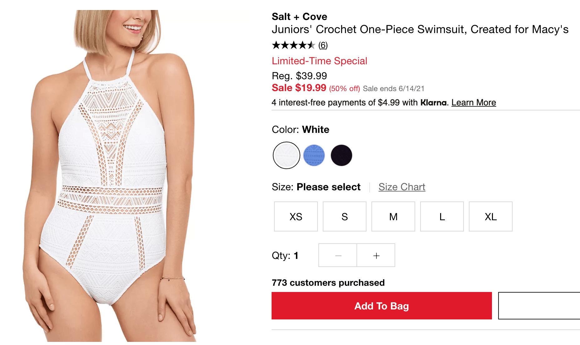 Crochet one-piece swimsuit