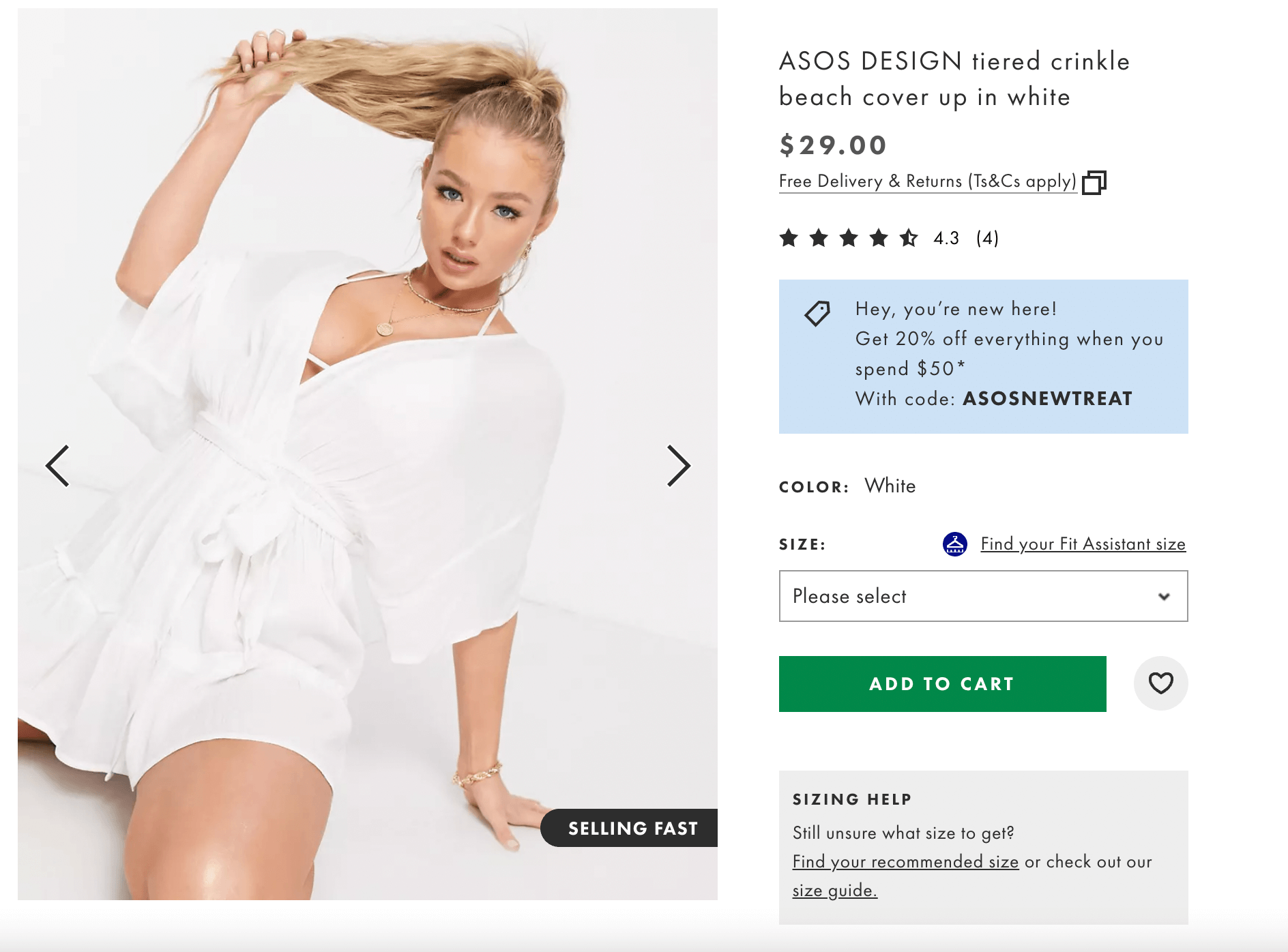 ASOS design tiered crinkle beach cover-up