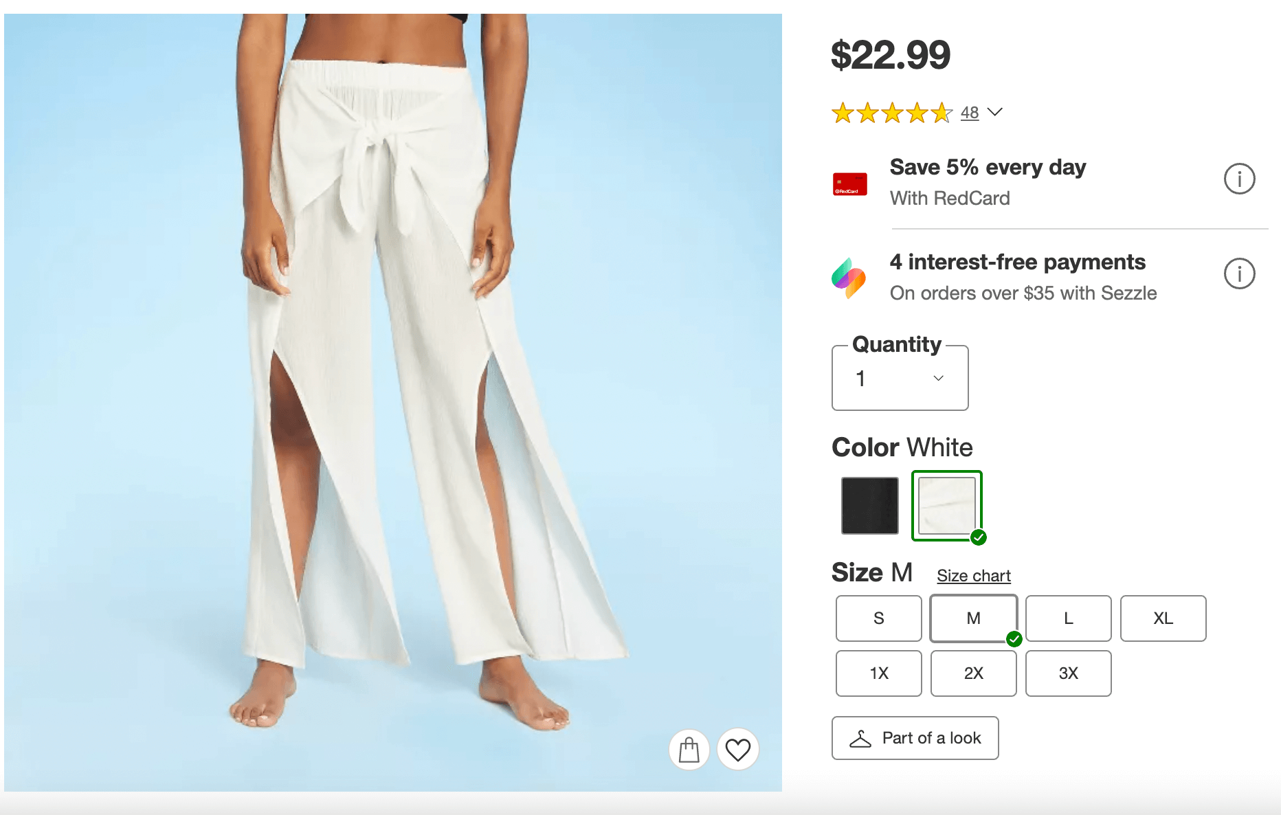 Tie-front cover-up pants