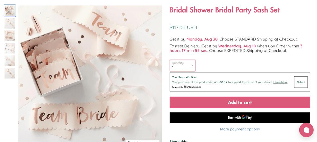 Bridal Shower Bridal Party Sash Set