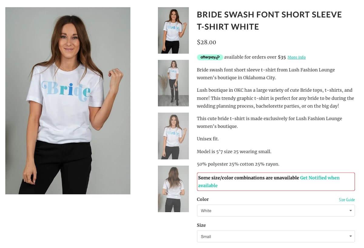 Bachelorette party shirts: Bride Swash Font Short Sleeve T-Shirt