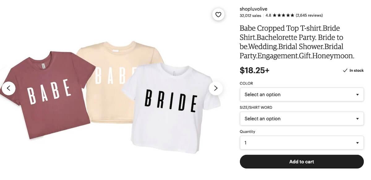 Bachelorette party shirts: Babe Cropped Top T-Shirt