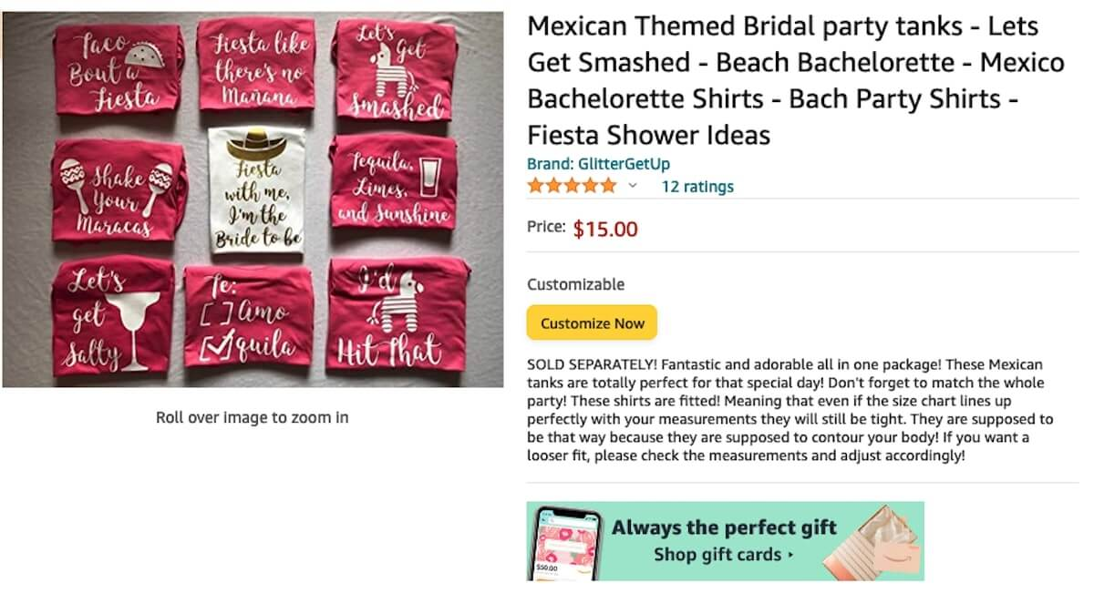 Mexican Themed Bridal Party Tanks