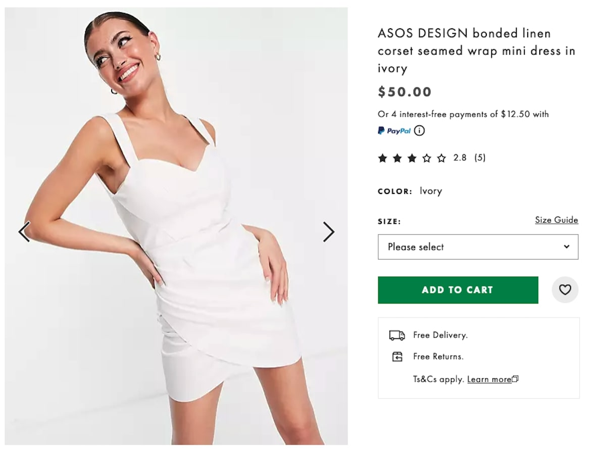 Bonded Linen Corset-Seamed Wrap Mini Dress