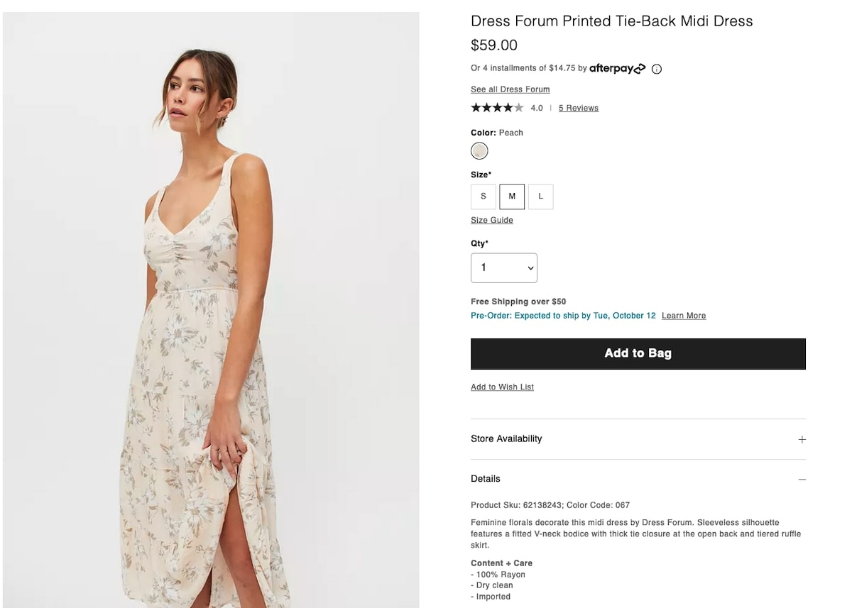 Bachelorette party outfits: Printed Tie-Back Midi Dress