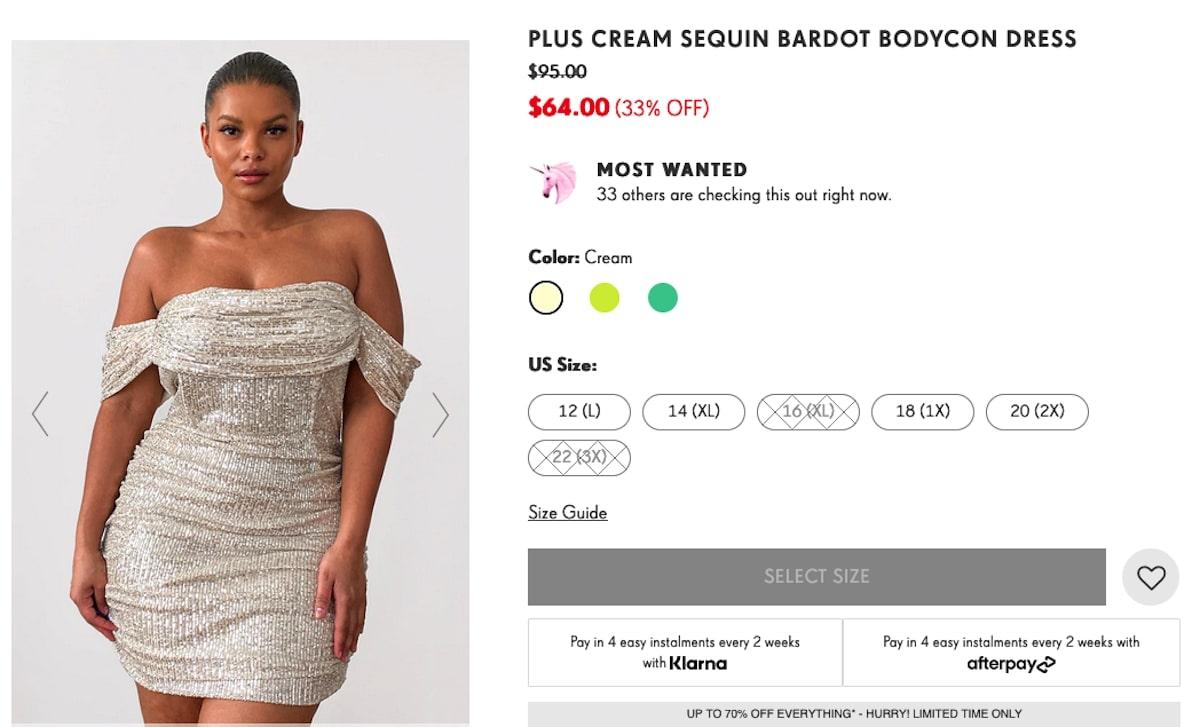 Sequin Bardot Bodycon Dress